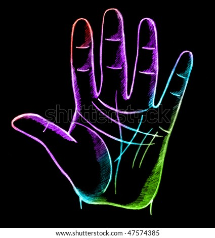 palmistry, fortune telling with lines on hand - stock photo