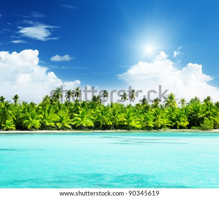 palms and beach Caribbean sea - stock photo