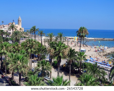 Palms and beach, Sitges, Spain