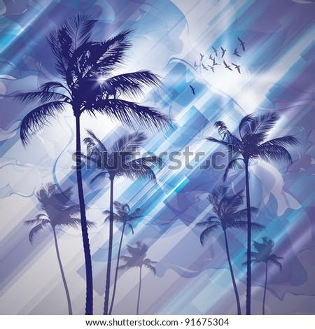 Palms at sunset. Raster version. - stock photo