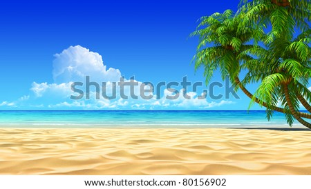 Palms on empty idyllic tropical sand beach. No noise, clean, extremely detailed 3d render. Concept for rest, holidays, resort, spa design or background. - stock photo