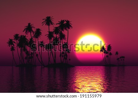 palms silhouette on coconut islands at pink sunset - stock photo