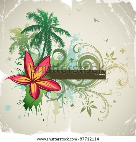 Palms, tropical flowers, frame for text. Rasterized version. - stock photo