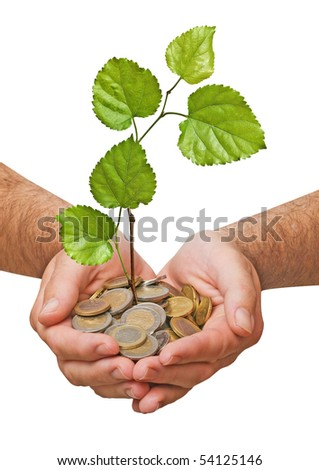 Palms with a tree growng from pile of coins - stock photo