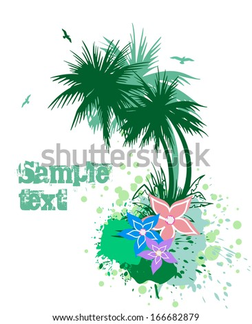 Palms with flowers - stock photo
