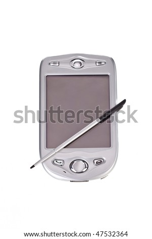 palmtop with stylus isolated on white background - stock photo