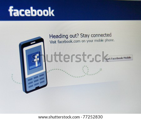 PALO ALTO, CA - MAY 13: Recently, the security firm Symantec discovered a leak in Facebookâ??s infrastructure which could leave a mobile device extremely vulnerable. May 13, 2011 in Palo, Alto, CA. - stock photo