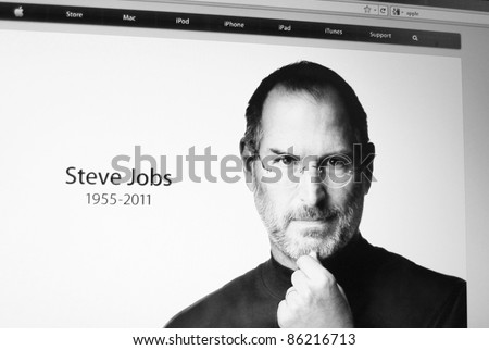 PALO ALTO, CA - OCT 5: Apple website pays tribute to founder and CEO, Steve Jobs, who passed away on October 5, 2011, with a photo of him on their home page. October 5, 2011 in Palo Alto, California. - stock photo