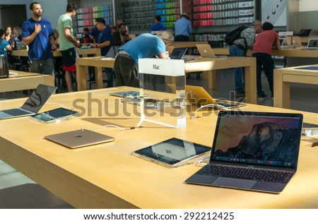 PALO ALTO, CA/USA - JUNE 28: Appleâ??s 11 inch Macbook Air on display in Apple store on June 28, 2015 in Palo Alto, CA, USA. It is the lightest and thinnest laptop manufactured by Apple Inc.