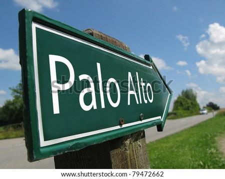 Palo Alto signpost along a rural road - stock photo