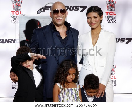 Paloma Jimenez at the Vin Diesel Immortalized With Hand And Footprint Ceremony held at the TCL Chinese Theatre IMAX in Hollywood, USA on April 1, 2015.
