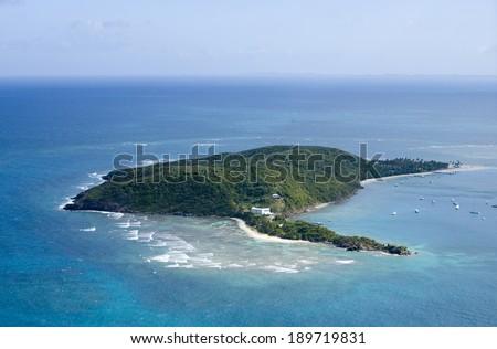 Palomino Island from the air Puerto Rico.   - stock photo