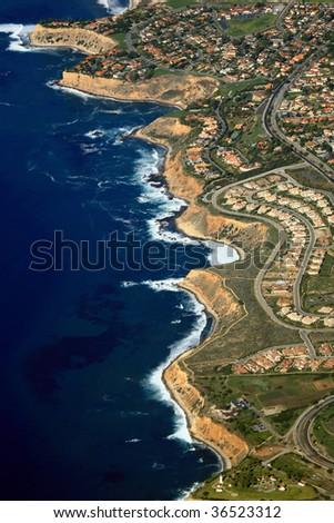 palos verde coast in california - stock photo