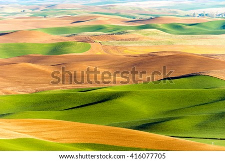 Palouse Region Steptoe Butte Farmland Rolling Hills Agriculture - stock photo