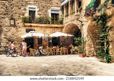 PALS, SPAIN - JULY 18: View of historic center on July 18, 2014 in Pals, Catalonia, Spain. Pals is a medieval town in Catalonia, in the heart of the Emporda on the Costa Brava. - stock photo
