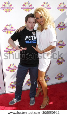 Pamela Anderson and PETA create the First ALL-VEGAN Shake at Celebrity Hotspot Millions of Milkshakes held at the Millions of Milkshakes in West Hollywood, California, United States on April 9, 2010.