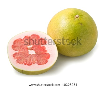Pamella fruit and half isolated on te white background - stock photo