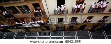 PAMPLONA-JULY:View of calle estafeta before the running bull in Pamplona 7 July 2008 in Pamplona Spain - stock photo