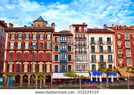 Pamplona Navarra in Spain plaza del Castillo square downtown - stock photo