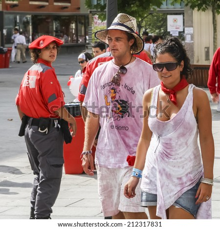 PAMPLONA, SPAIN - JULY 6, 2009: Festival of San Fermin is held annually in Pamplona between July 6 and July 14. - stock photo