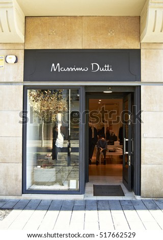 Pamplona, Spain - October 11th 2016: Massimo Dutti's shop in Pamplona, Spain