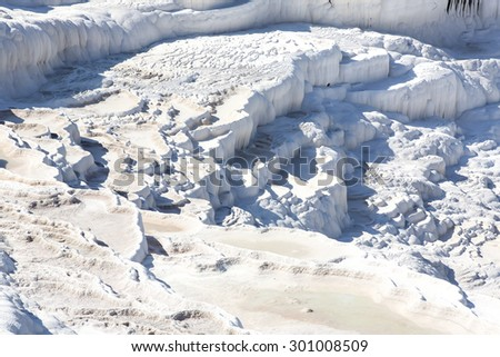 Pamukkale white mountain in Turkey in the middle of the summer - stock photo