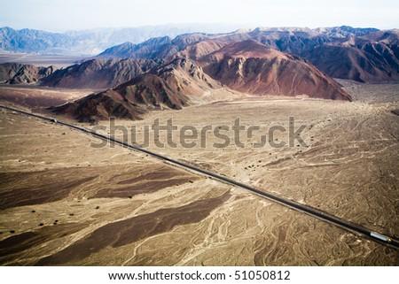 Pan-americana near Nazca, Peru - stock photo