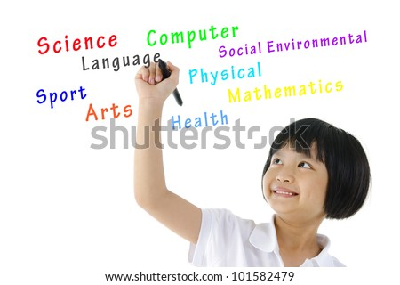 Pan Asian schoolgirl writing her school subjects on blank space - stock photo