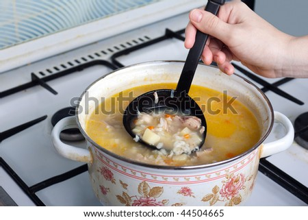 Pan cooking healthy eating dinner meal soup food - stock photo