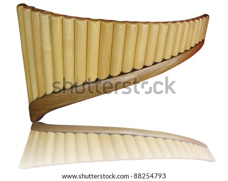 Pan flute pipes with reflection isolated on white background - stock photo