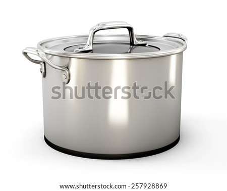 Pan for soup isolated on white background. Pan from stainless steel. 3d illustration. - stock photo