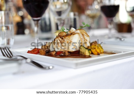 Pan fried cod - stock photo