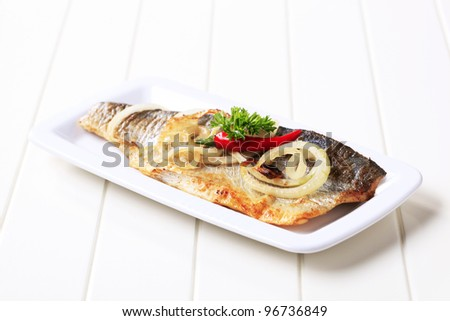 Pan fried trout   - stock photo