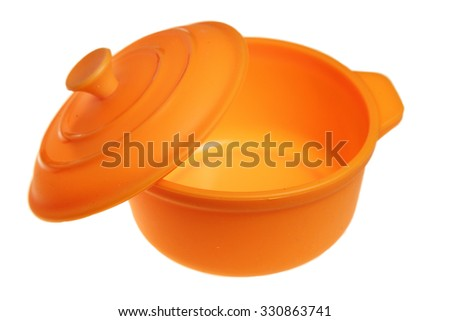 Pan from orange silicone it is isolated on a white background