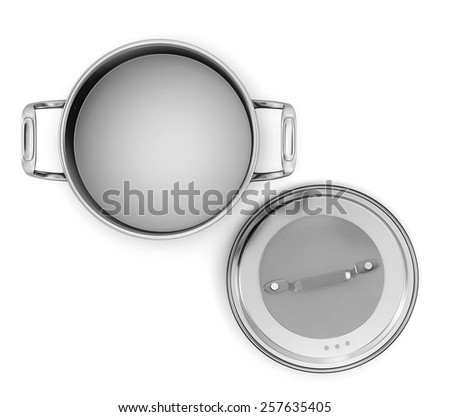Pan from stainless steel front view on a white background. 3d image. - stock photo