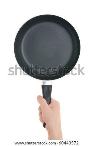 Pan in hand on white background - stock photo