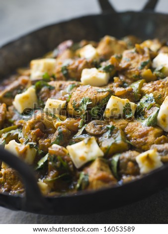 Pan of Chicken and Paneer Balti - stock photo