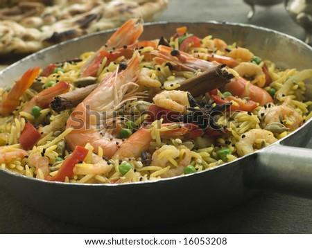 Pan of Prawn and Vegetable Biryani - stock photo