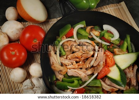 Pan of the chicken, pepper, mushroom, onion and tomato - stock photo