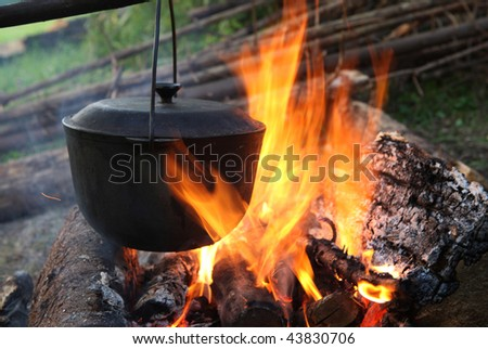 Pan on a fire - stock photo