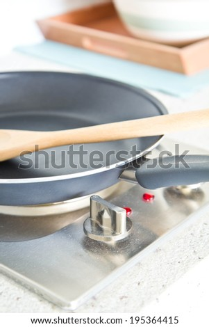 Pan on electric stove in modern Kitchen
