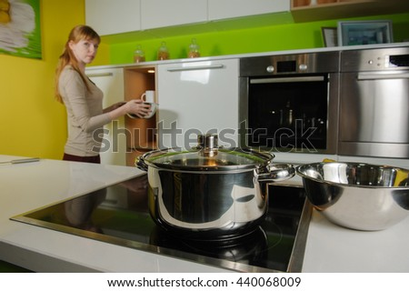 Pan on electric stove in the kitchen
