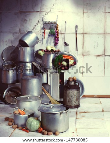 Pan pantry, ware. kitchen utensils stock pot vintage - stock photo