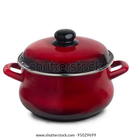 pan red kitchen pot isolated on white background - stock photo