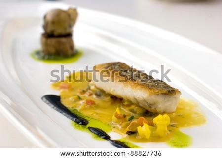 Pan seared, crispy skinned cod molecular cuisine - stock photo