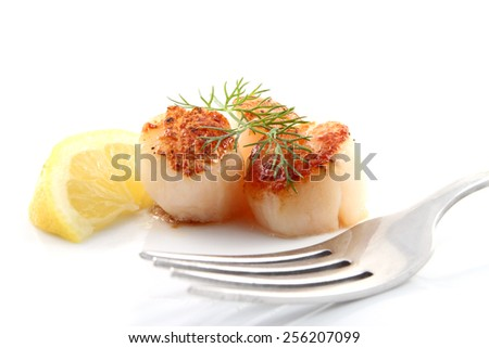 Pan seared scallops with lemon and dill isolated over a white background - stock photo