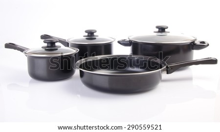 pan. Set of cook pan on white background - stock photo
