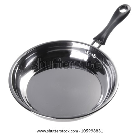 pan. stainless pan isolated on white background - stock photo