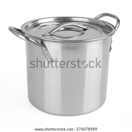 pan. stainless steel pan on the background - stock photo