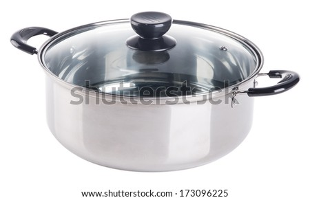 pan. steamer pan on the background - stock photo